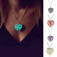 Unique Magical Fairy Glow in the Dark Pendant Locket Heart  Necklace Luminous