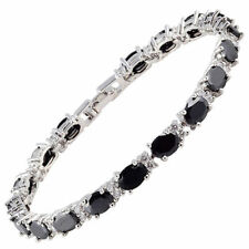 "Oval Black Onyx Zirconia CZ Tennis Bracelet White Gold Filled Gift 7"""