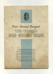 Vtg 1946 Timken Roller Bearing Old Guard Club Banquet Program Onesto Canton OH
