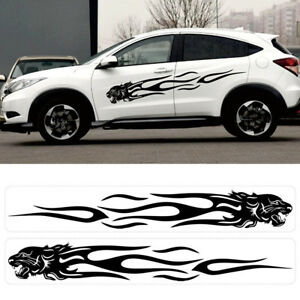 2x Leopard Head Flame Racing Car Body Stickers Side Stripes Vinyl Graphic Decals