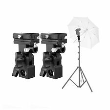 2x Flash Hot Shoe Umbrella Mount Holder Swivel for Light Stand Flash Bracket B