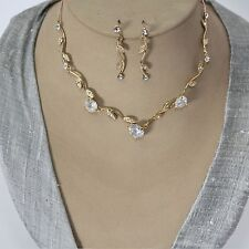 Jewellery Set Necklace Earrings Cristal Strass Bride Necklace Chain Gold 20