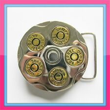 SPINNER BULLET  COWBOY REVOLVER MILITARY GUN BARREL 44 MAG BELT BUCKLE !!!