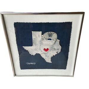 Jane Tamako Raffeld Batik on Cotton TX Armadillo Original 1981 Framed Fine Art