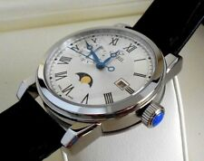 New Gevril Men's 2526 CORTLAND Silver Dial Black Leather Box & Papers