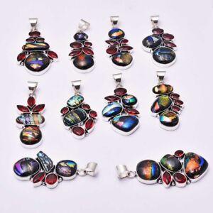 Fancy Dichroic Glass Garnet 10 pcs Wholesale Lot  Pendant Jewelry Lot-1619
