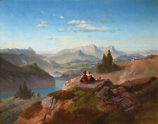 Original Ölgemälde Ölbild alt antik Romantik Biedermeier See Landschaft ~1860
