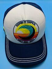 "ROXY / ""Keeping it Tropical"" trucker-style blue / white adjustable cap / hat"