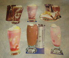 Lot of 6 HUGE Old 1950's Vintage SODA FOUNTAIN / DINER - MALT - DIECUTS
