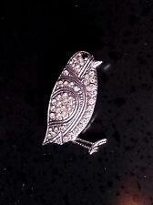RARE!! VINTAGE ART DECO BUTLER WILSON BIRD/FINCH/BUDGIE SIGNED B&W BROOCH PIN