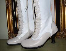 Fluevog VICTORIAN BOOTS Sz 6 Womens Steampunk Zip Lace-Up White Beige Tan Cream