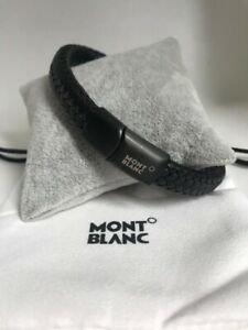 Montblanc Contemporary Woven Black Leather & Stainless Bracelet