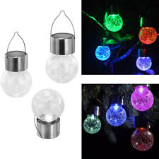 Solar Powered Garden Hanging Crackle Ball Lights Lanterns Colour Changing LED