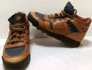 Vintage New Balance Brown Leather Hiking Boots Size 6.5 B Trail Boston USA Made