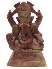 Carved Soapstone Ganesha or Ganapati Elephant Faced Hindu God India Deity