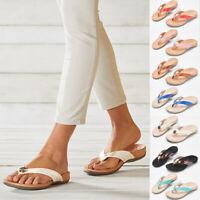Ladies Womens Slip On Toe Post Sandals Flat Flip Flops Mule Hoilday Beach Shoes