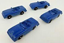 (4) Vintage Tootsietoy Miniature Blue Metal Mercedes Benz 450SL Convertible Cars
