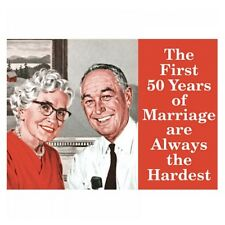 "Retro Humour ""The First 50 Years Of Marriage"" Fridge Magnet Metal Gift Novelty"