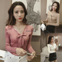 Korean Women Knit V Neck Bow Stretch Long Sleeve Bottoming T Shirt Blouse Top