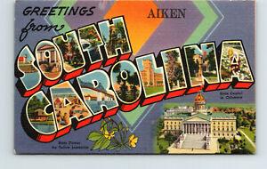 Greetings from Aiken South Carolina Large Letter Vintage Linen Postcard