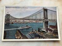 Vintage Postcard Manhattan Bridge NY & Brooklyn Unposted Rare One Color