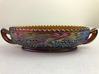 Vtg Imperial Carnival Glass Candy Dish Bowl Grapes & Leaves