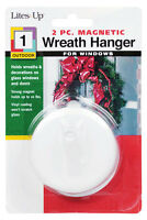 White Magnetic Wreath Hanger for windows and Glass Storm Doors