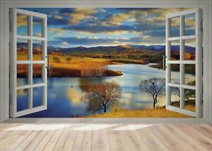 3D Window Nature Landscape Self-adhesive Removable Wallpaper Murals Wall
