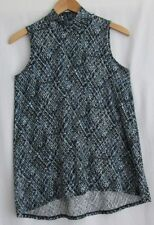 J. Jill Wearever Collection size XS sleeveless print a-line style top blue black