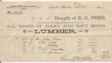 1895 E G Pond Hard & Soft Lumber SOUTH BOSTON MASSACHUSETTS Billhead Invoice