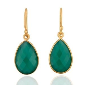 Natural Green Onyx 18K Gold Plated 925 Sterling Silver Dangle Earrings Jewelry