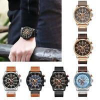 Luxury Mens PU Leather Band Strap Wristwatch Sports Military Quartz Watch 8291
