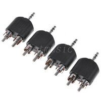 "4PCS 3.5mm 1/8"" Plug Stereo To Dual RCA Male Y Splitter Audio Adapter Converter"