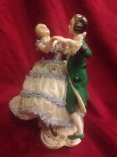 Large Frankenthal Dresden Porcelain Lace Figurine Dancing Couple