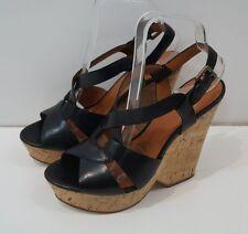 ASH Black Leather High Cork Wedge Sling-Back Platform Sandals Shoes EU38; UK5