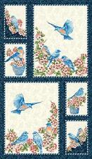 Bluebird Gathering Panel Benartex White Nature Bird End of Bolt Bfab