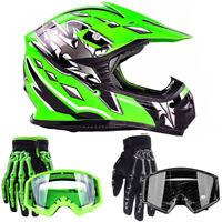 New Kids Green Motocross Helmet w/ Gloves Goggles Motorcycle Youth Combo ATV UTV