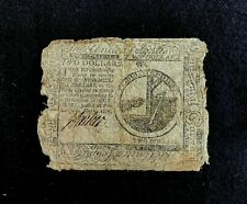 CONTINENTAL CONGRESS 2 DOLLAR BILL DTD, MAY 9. 1776, COUNTRY / GENERAL STORE