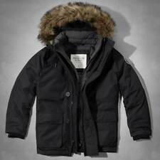 NWT * ABERCROMBIE & FITCH A&F Men's PANTHER GEORGE PARKA JACKET in Black ~ L