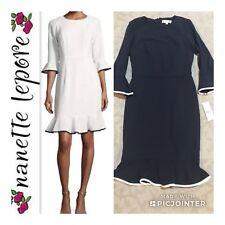 NWT NANETTE LEPORE Size 4 Velvet Trim Flounce Ponte Dress $149 Navy