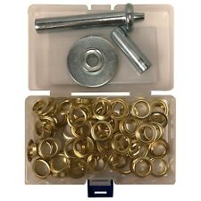 "(103) 1/2"" Grommet Brass Coated & Punch Tool Installation Repair Assortment Kit"