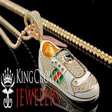 14k Rose Gold Finish Lab Diamond Sneaker Shoes Star Silver 925 Pendant + Chain