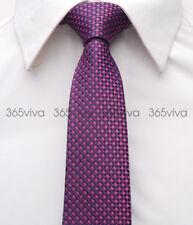 Purple Dark Blue Checker Men Skinny Slim Narrow Woven Silk 6.5 cm Wedding Tie