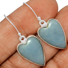 Heart - Angelite - Peru 925 Sterling Silver Earrings Jewelry AE165814