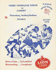 Far North v Cardiff  11 Aug 1979 Pietersburg RUGBY PROGRAMME