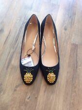 NIB Zara Black Denim Pineapple Jeweled Block Heels 39 / US8