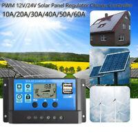 50A Controlador de Carga Solar Panel Batería Regulador PWM LCD Dual USB 12V-24V