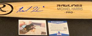Michael Harris Atlanta Braves Auto Signed Engraved Bat Blonde Beckett COA
