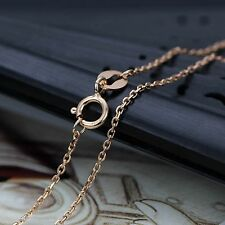 Fine Pure Au750 18K Rose Gold Chain Women's 1mm Square Link Necklace 18inch