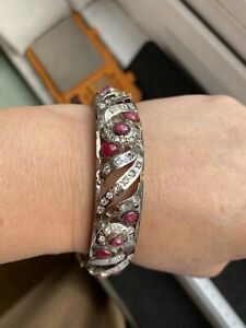 Rhodium Plated Metal Cabochon Ruby and Clear Gems Bangle, 6.5cm Diameter, 35.16g